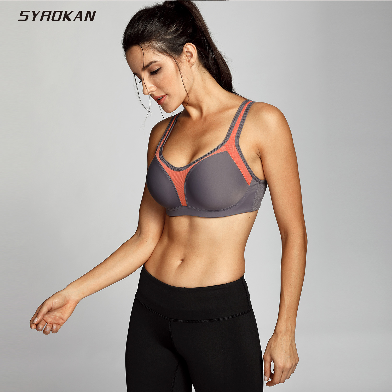 Syrokan underwire mujer firme apoyo contorno Sujetador deportivo de alto impacto