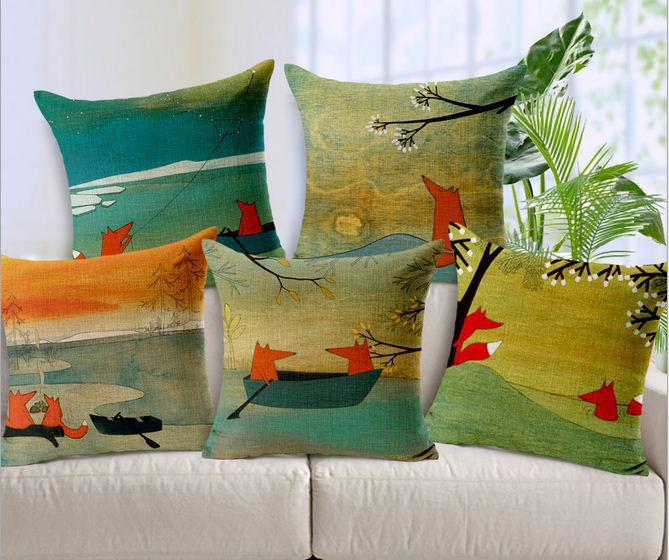 Decorative Cushion Covers Cartoon Red Fox Sofa Throw