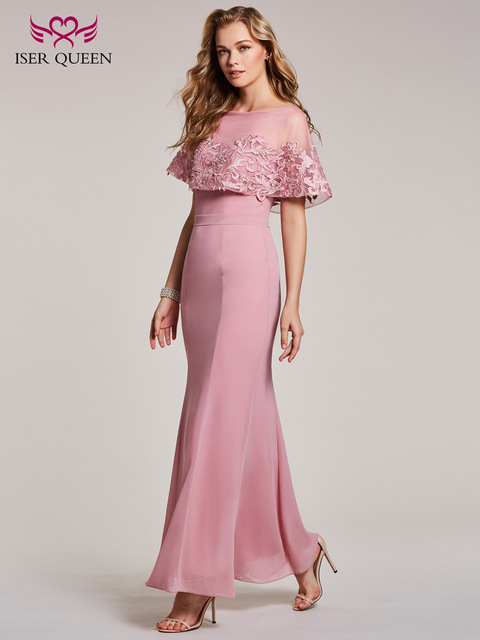 US $68.0 |Elegant Long Mermaid Bridesmaid Dresses Sleeveless With Wrap Plus  Size Pink Color Chiffon Formal Party Dresses EX0035-in Bridesmaid Dresses  ...