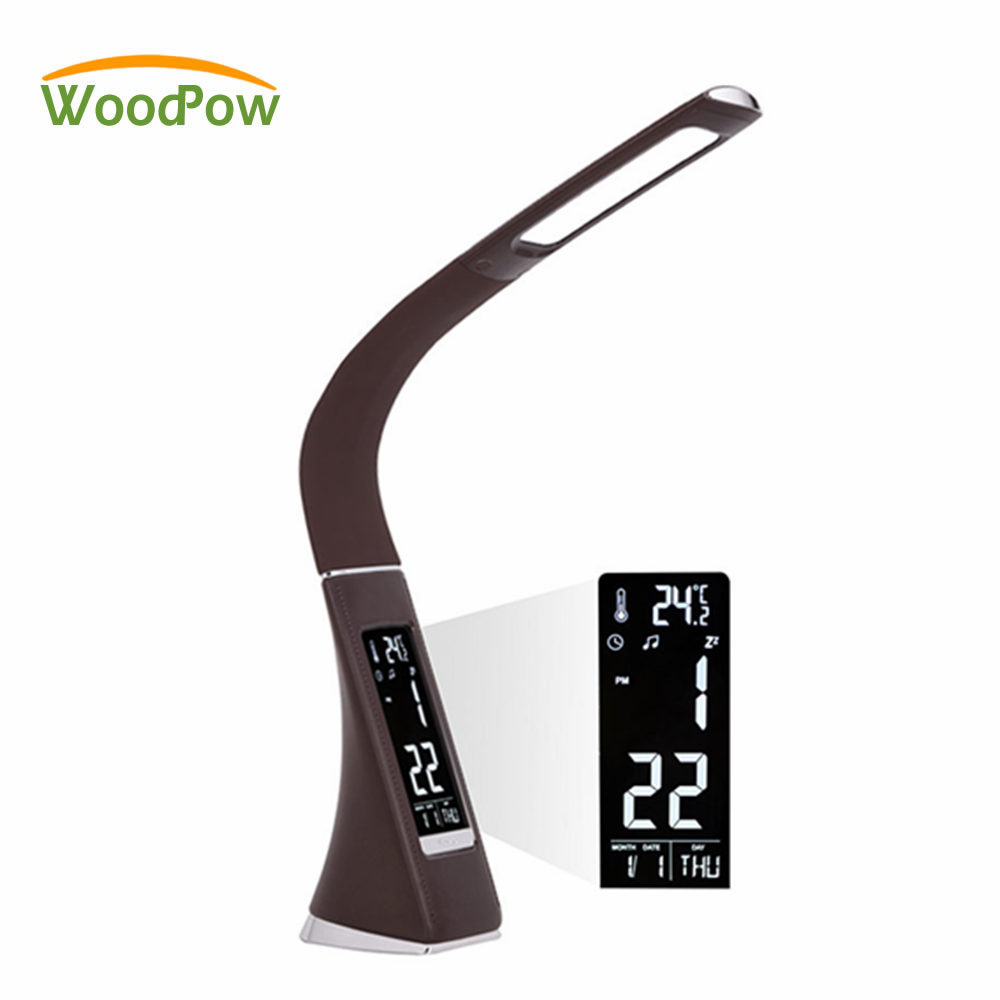 Business LED Desk Lamp Leather Texture Touch Switch Dimmable USB Table Lamp Lighting Clock LCD Display