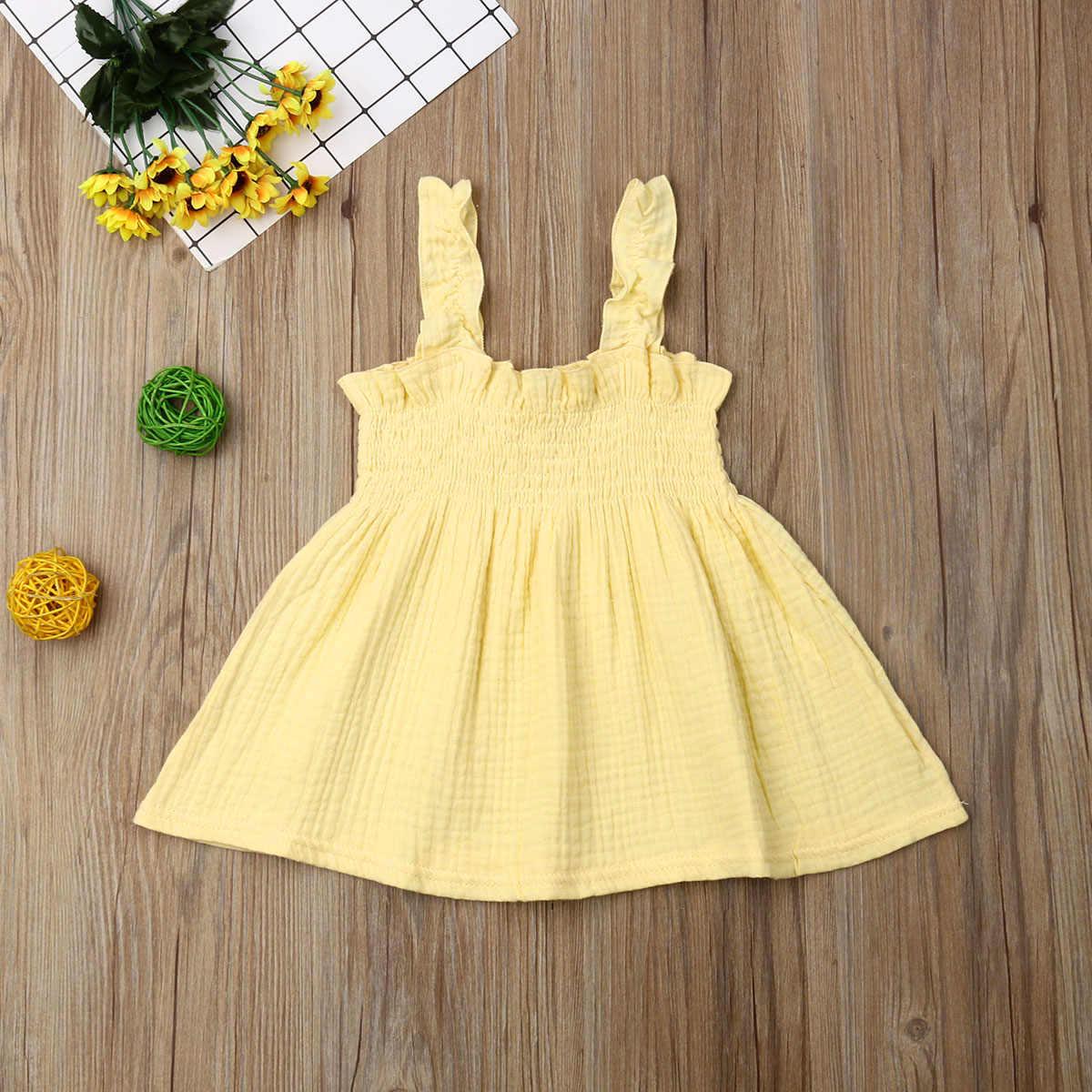 2019 תינוק קיץ בגדי 1-5Y פעוט תינוק בנות מוצק נסיכת שמלה ללא שרוולים באורך הברך אונליין שמלת כלה שמלות שמלה