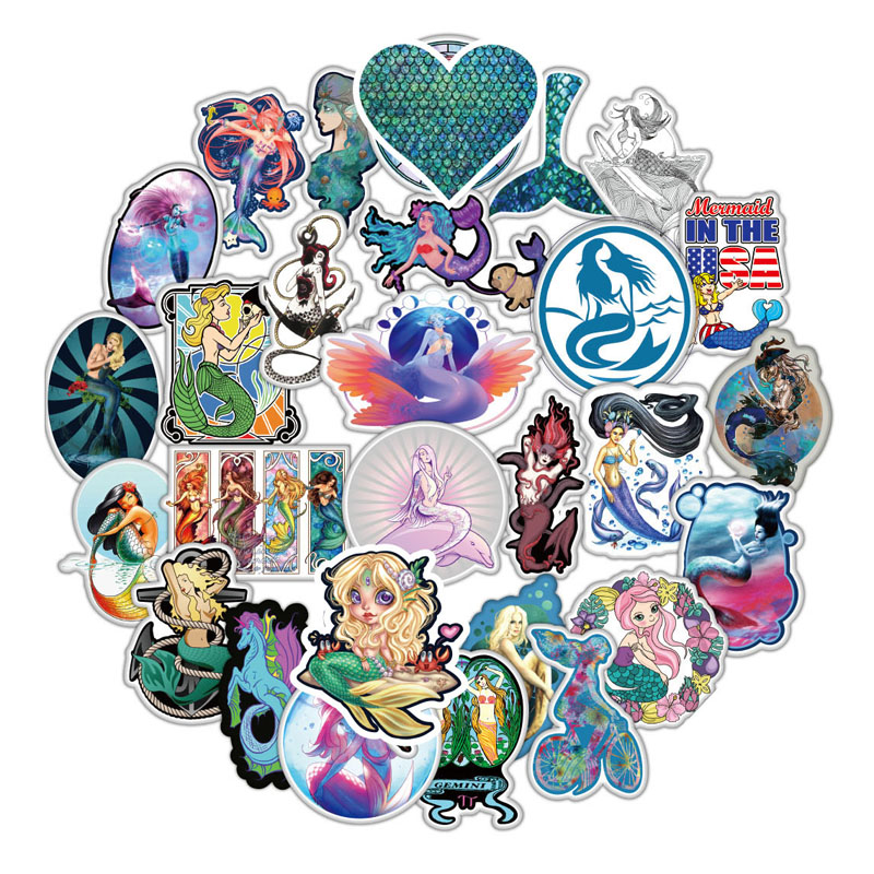 50 Pcs/pack Cartoon Mermaid Stickers For Luggage Skateboard Motorcycle Stickers Waterproof Beauty Gift Applique For Fid Sickers