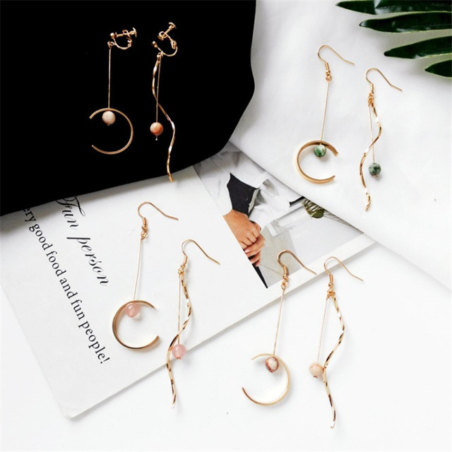 Japanese and Korean Earrings Accessories Origins Factory Curve Semi-Circular Asymmetric Earrings Long Ear Tassel-Free Ear Clip