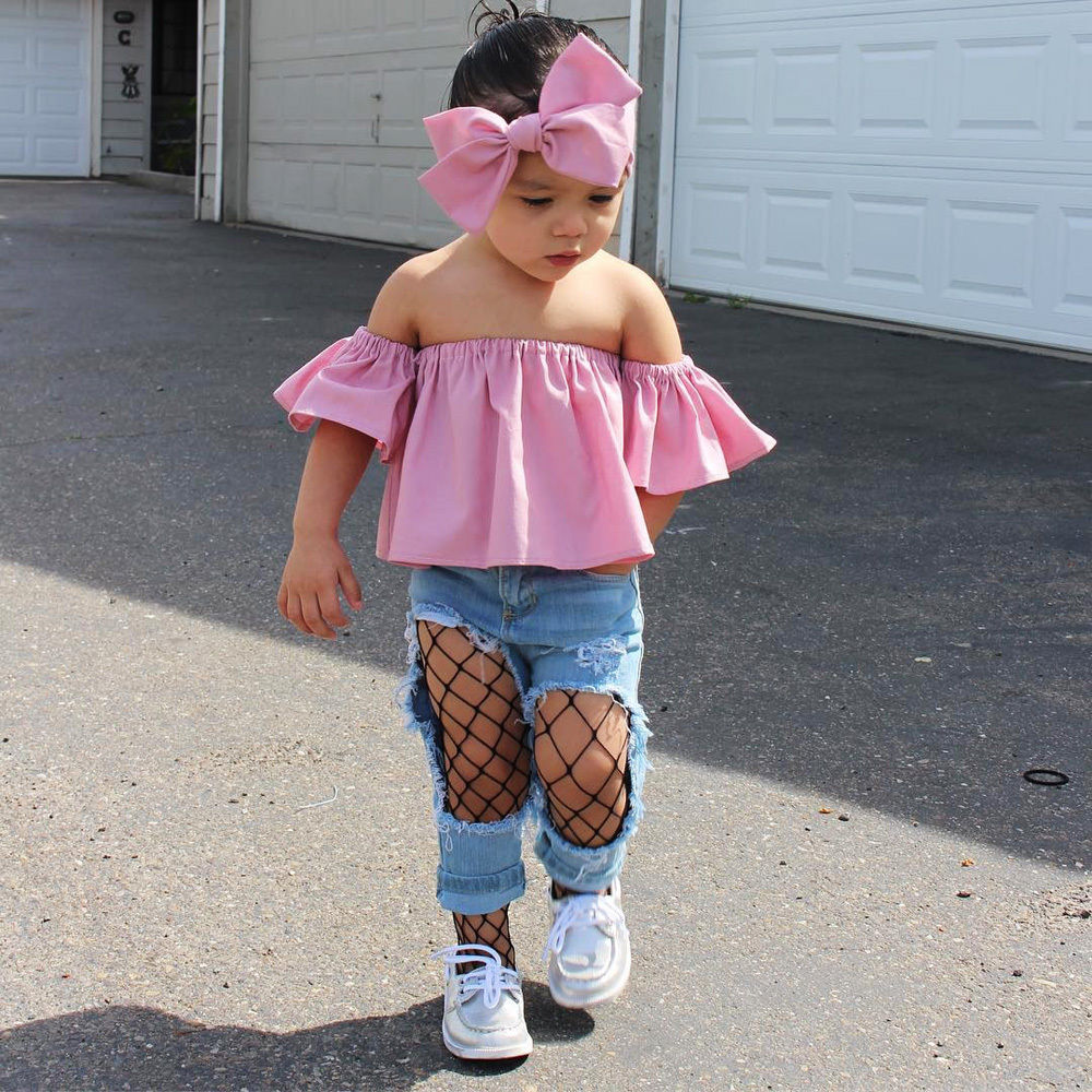2017 New Fashion Toddler Kids Girl Clothes Summer Off shoulder Pink T-shirt Tops+Hole Net Jean Denim Pant Headband 3PCS Clothing 2017 cute kids girl clothing set off shoulder lace white t shirt tops denim pant jeans 2pcs children clothes 2 7y