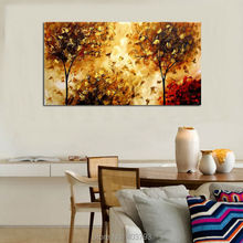 100% Hand painted luxury style landscape oil painting on canvas modern abstract gold red tree wall art home decor