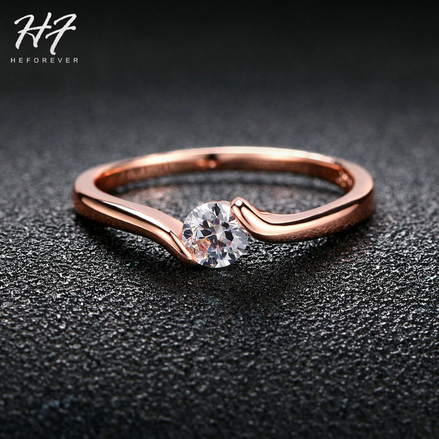 Hot Sale Cubic Zirconia Crystal Engagement Rings for Women Rose Gold Color The F