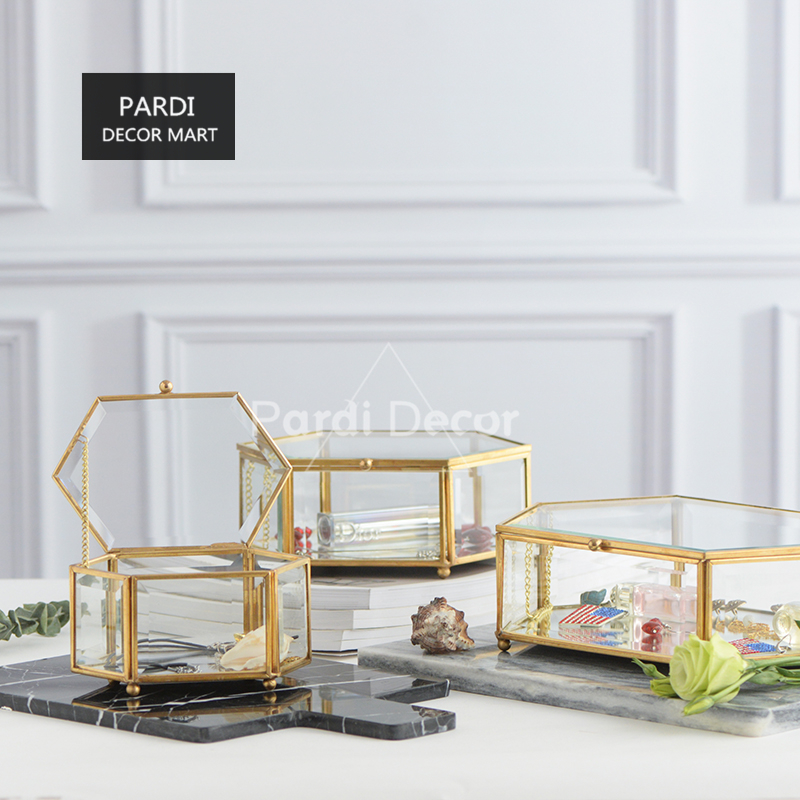 European style retro bronze hexagonal box glass jewelry box dessert cake display box 1pc lot