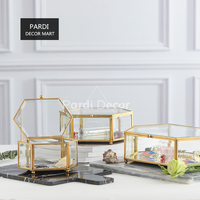 European style retro bronze hexagonal box glass jewelry box dessert cake display box 1pc/lot