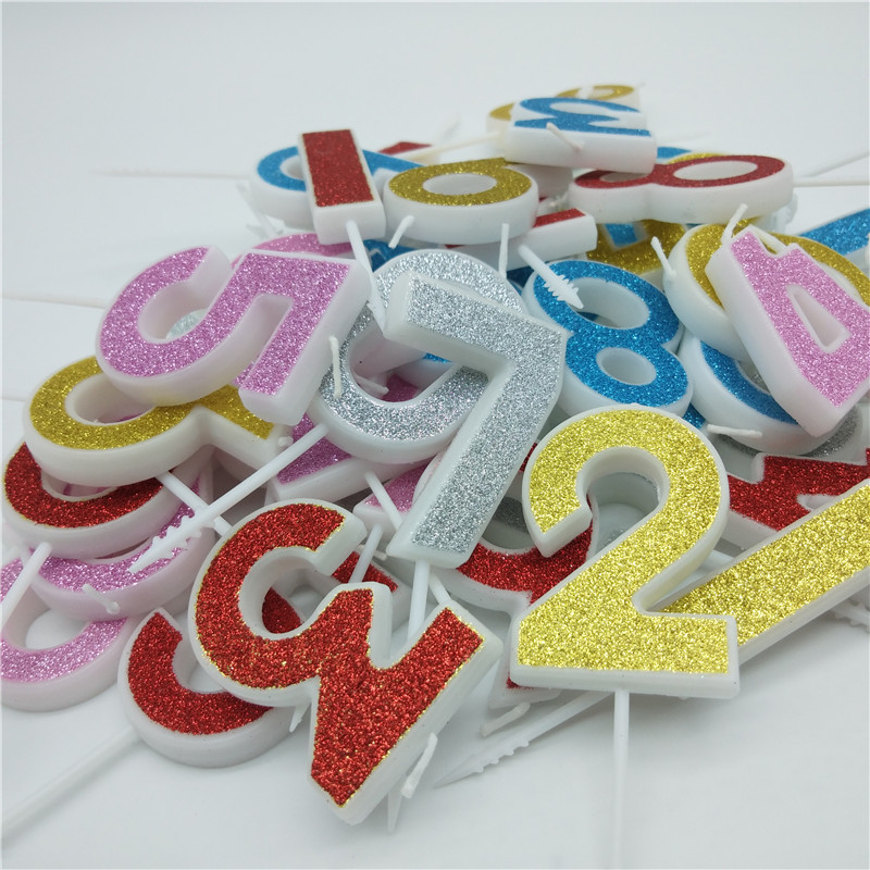 Number Birthday Candles Golden Sliver Pink Red Blue Kids boys girls Happy Birthday Cake Topper Candles for Party Cake Decoration number