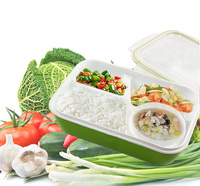 Leakproof Rectangular Lunch Bento Box For Kids Adults Microwave Safe Food Container 4 Separate Spaces Green