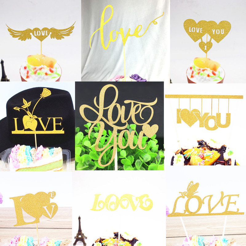 Glitter Love you Heart Bride to be Wedding Cake Topper Mr Mrs Souvenirs Birthday Party Decoration Wrapper DIY Baby Shower