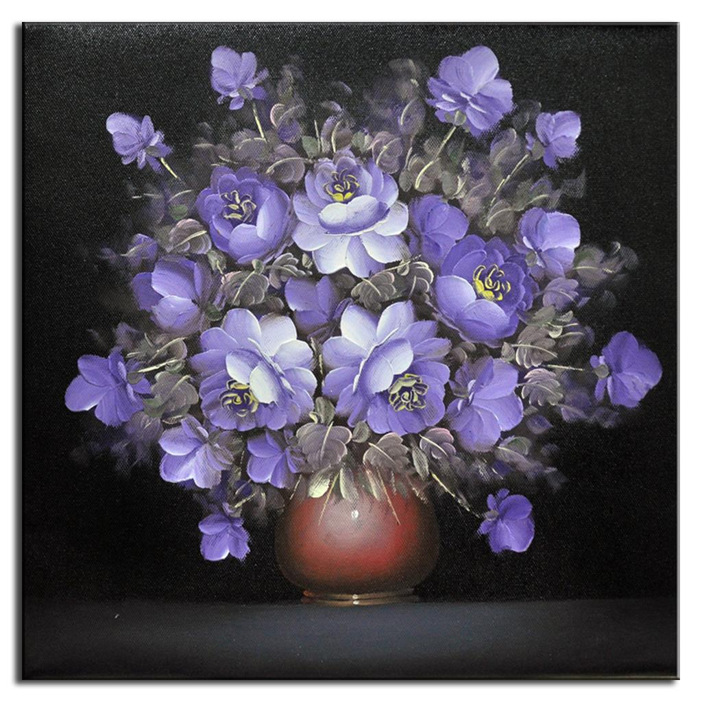 Us 7 99 20 offvintage flower wall art picture square purple flower oil painting printed on canvas unframed floral wall decor poster for rooms in