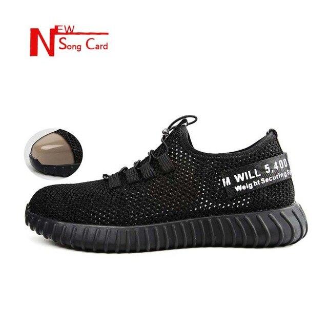 Bài hát mới thẻ 2019 giày an toàn thoáng khí mens Trọng Lượng Nhẹ chống đập Toe Thép Ngoài Trời Khởi Động công việc Duy Nhất lưới sneaker 36-46