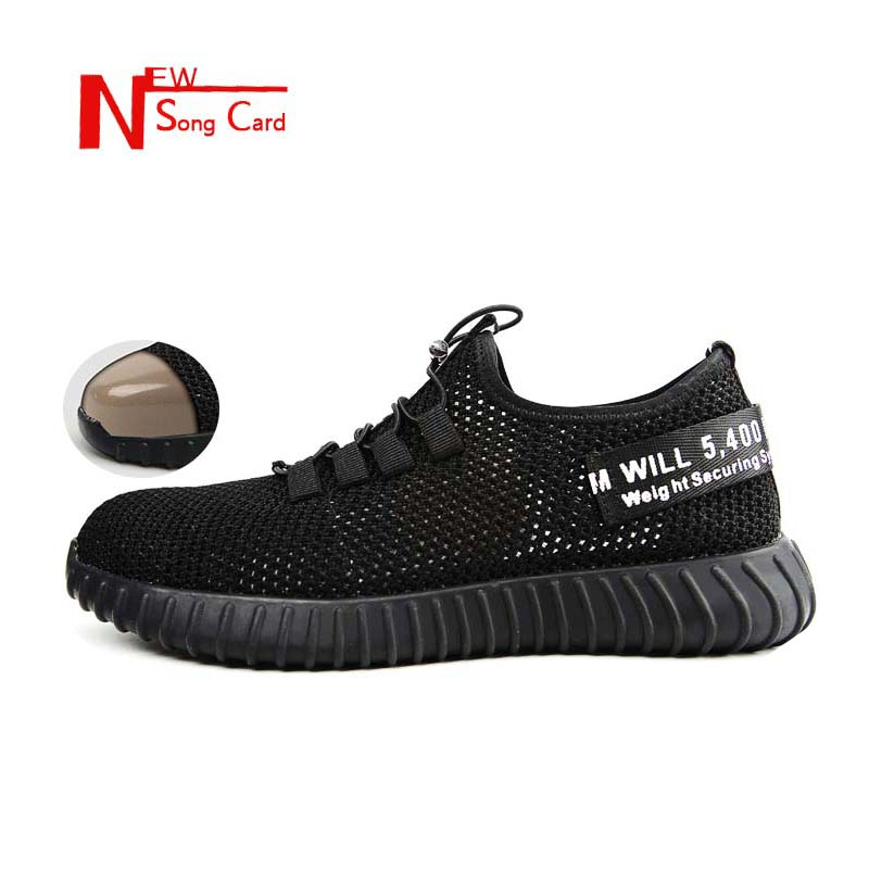 New Song Card 2019 Breathable Safety Shoes Mens Lightweight Anti-smashing Steel Toe Outdoor Work Boots Single Mesh Sneaker 36-46