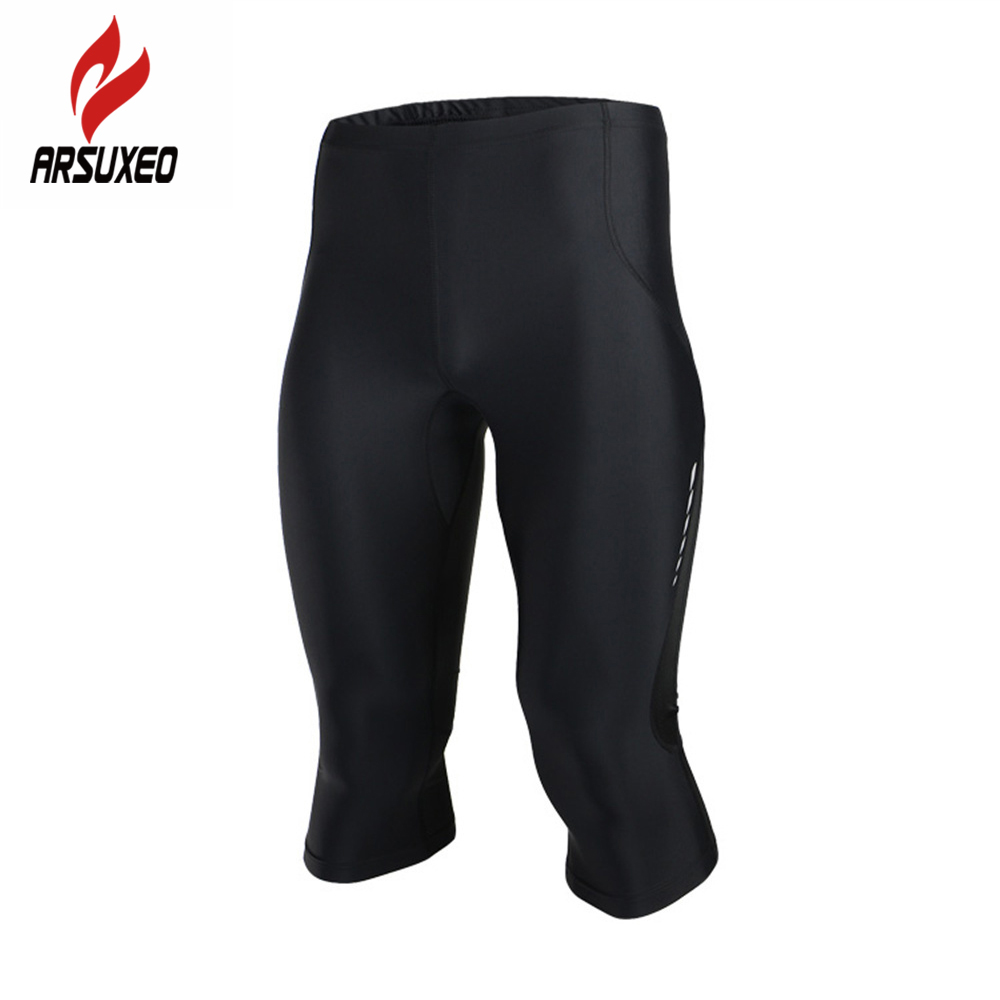 ARSUXEO Men Outdoor Sports Running Jogging 3/4 Pants Compression Tights Base Layer Gym Bodybuilding Workout Fitness Clothing