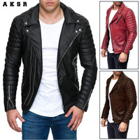 AKSR Winter New Men's Fashion Slim Cotton Pure Color Anti fan Leather Sports Striped Jacket M 4XL