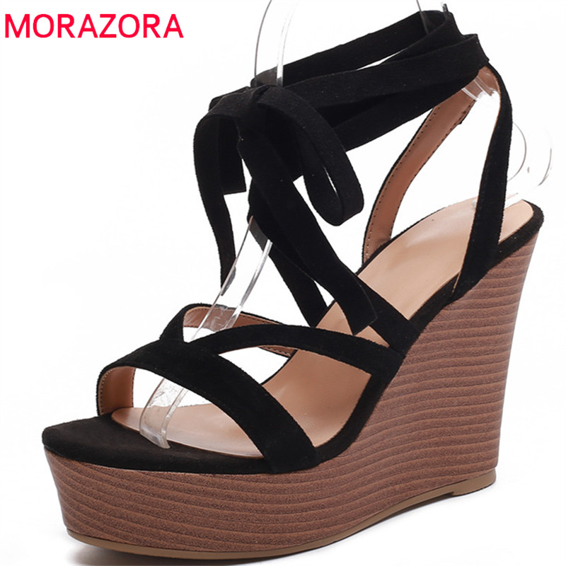 MORAZORA 2018 hot sale women sandals sexy cross tied summer shoes simple solid party wedding shoes platform wedges shoes woman karinluna 2018 hot sale sexy platform ankle strap women sandals shoes spring summer super high heels party wedding shoes woman