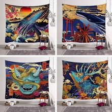 Custom Tapestry Wall Hanging Shark Whale Tiger Dragons Chinese New Year Paintings Tapestries Decor Bedspread Mat Rug Beach Towel