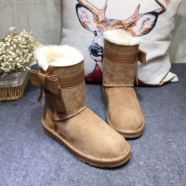 Women Sheepskin Boots Female Natural Sheep Fur Boots Bowtie Tube Warm Genuine Leather Flat Wool Snow Boots Ladies Winter Shoes hot sale australia women genuine sheepskin leather snow boots wool fur winter warm boots female fight color grain buckle shoes