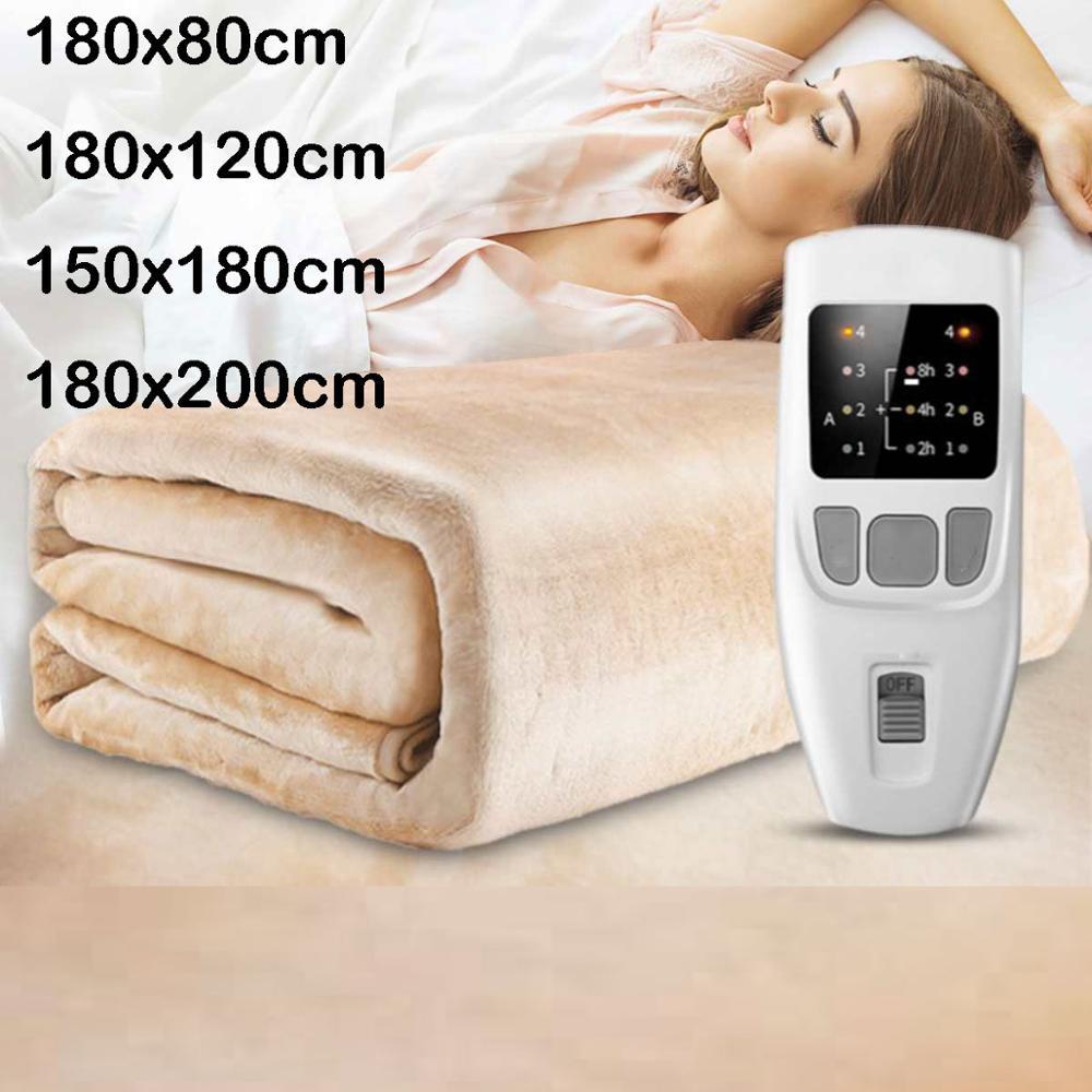 Haute qualité chauffage chaud velours couverture chauffante électrique 4 vitesse température régulateur de synchronisation chambre électrique couverture tapis