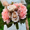 Durazno rosa Artificial tela Rosette ramos de novia flores 2016 Romantic Wedding broche ramo de novia de la boda Accessies P11