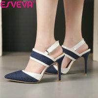 ESVEVA 2019 Women Sandals Pointed Toe Elegant Sandals Hook & Loop Thin High Heels Shoes Ankle Strap Slingback Summer Size 34 43