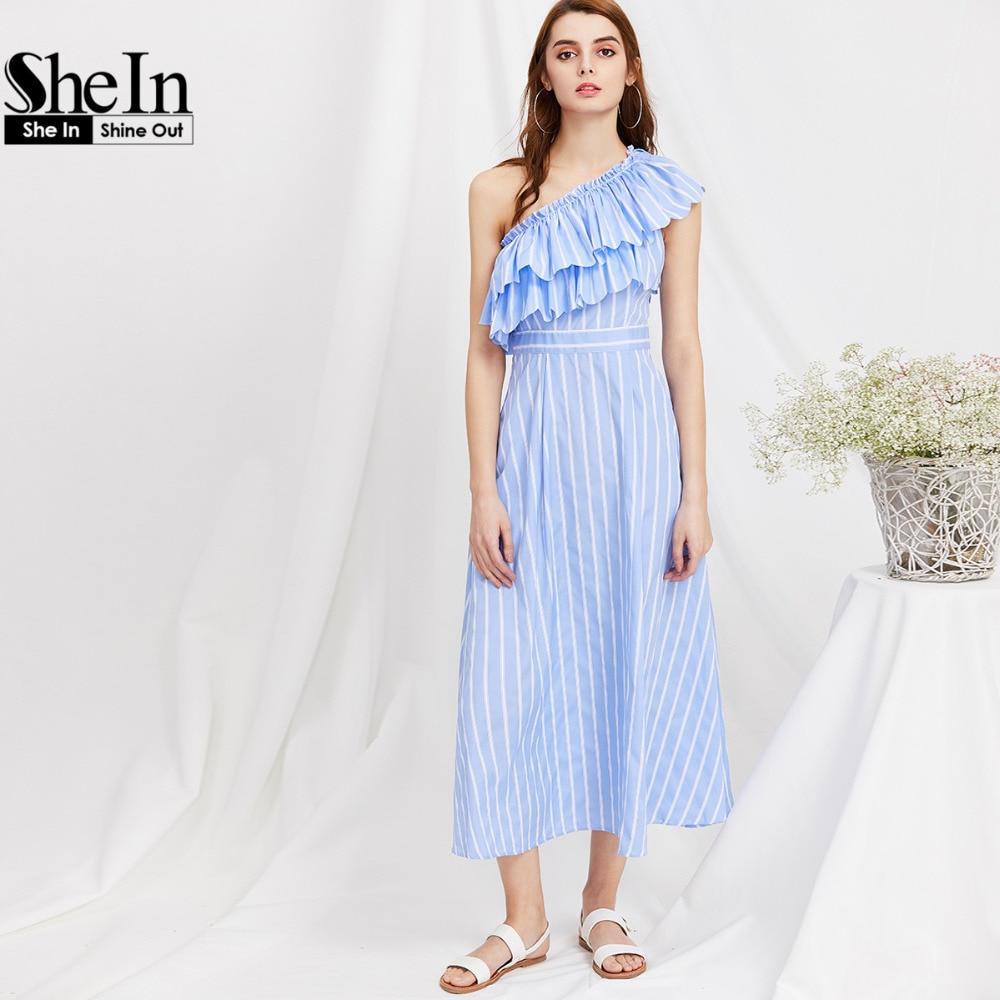 Shein dress 2017 mujeres de verano azul a rayas de un hombro capas ruffle dress
