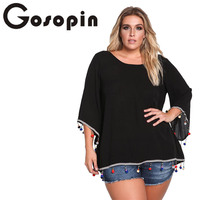 Gosopin Plus Size Black Autumn Fashion Women Long Sleeve T Shirt Casual White Korean Tshirt Solid