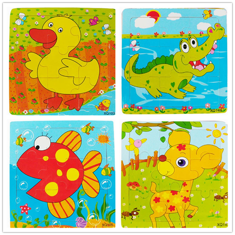 Retail Educational Wooden Jigsaw animal Puzzles Toys Kids Baby Games Toy For Children Cartoon Learning Education birthday gift wooden 3d puzzle jigsaw wooden toys for children cartoon animal puzzles intelligence kids children educational toy toys