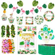 Hawaii Party Aloha Luau Flamingo Decor Palm Leaf Pineapple Summer Tropical Party Supplies Birthday Hawaiian Party Decor Wedding