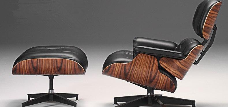 Meados Do Século Moderno Clássico Madeira Jacarandá Chaise Lounge Chair & Ottoman Premium de Alto Grau de Couro Chaise Lounge Cadeira Giratória