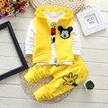 Bebé Mickey chándal ropa de los muchachos del otoño 1-4 años bebé ropa de chicos 3 unids juego del chaleco + T-Shirt + Pants de la ropa de los bebés fija