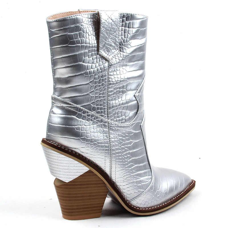 2019 Fashion Cowgirl Laarzen Vrouwen Schoenen Winter Western Cowboy Enkellaarsjes Puntschoen Splicing Lovertjes PU Lederen Schoenen Vrouw