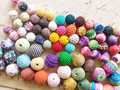 (14MM & 20MM) 75Pcs Mix Styles Colorful Cotton Cloth Wax Wire Acrylic Beads Jewelry Beads Findings &  Accessories