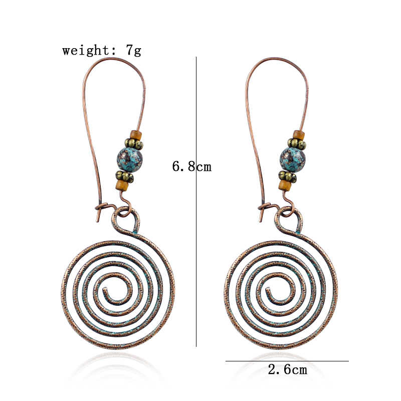 Nationalen Wind Spirale Unregelmäßigen Hängen Perlen Ohrringe Retro Natürliche Stein Übertrieben Ohr Hängen Frauen Böhmischen Schmuck