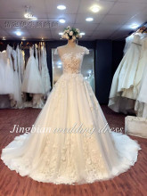 Real Pictures Ball Gown Bridal Dress Sexy Backless Plus Size Lace Wedding Dress 2017 Princess with Sleeve