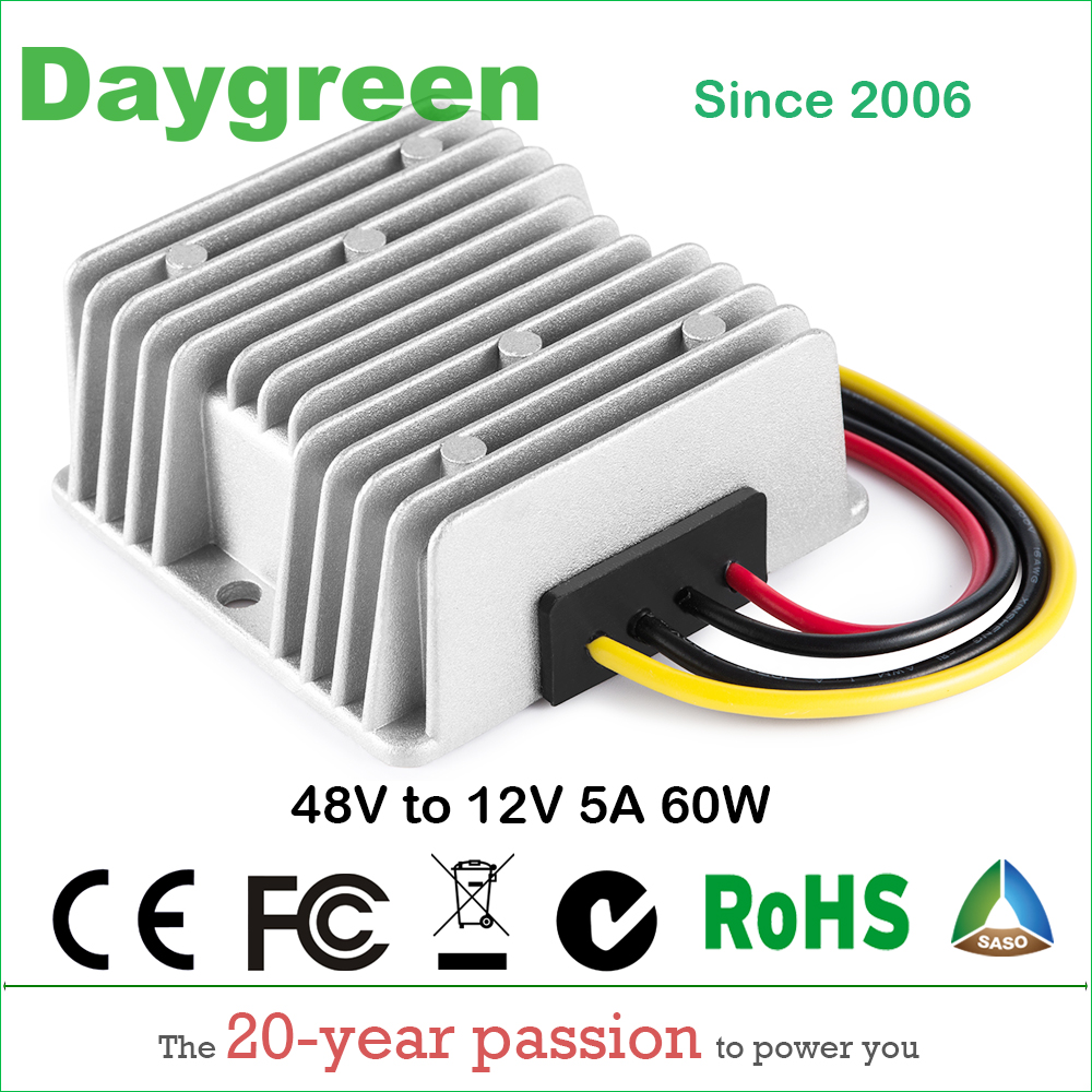 48V to 12V 5A (48VDC to 12VDC 5 AMP) 60W Golf Cart Voltage Reducer DC DC Step Down Converter CE Certificated