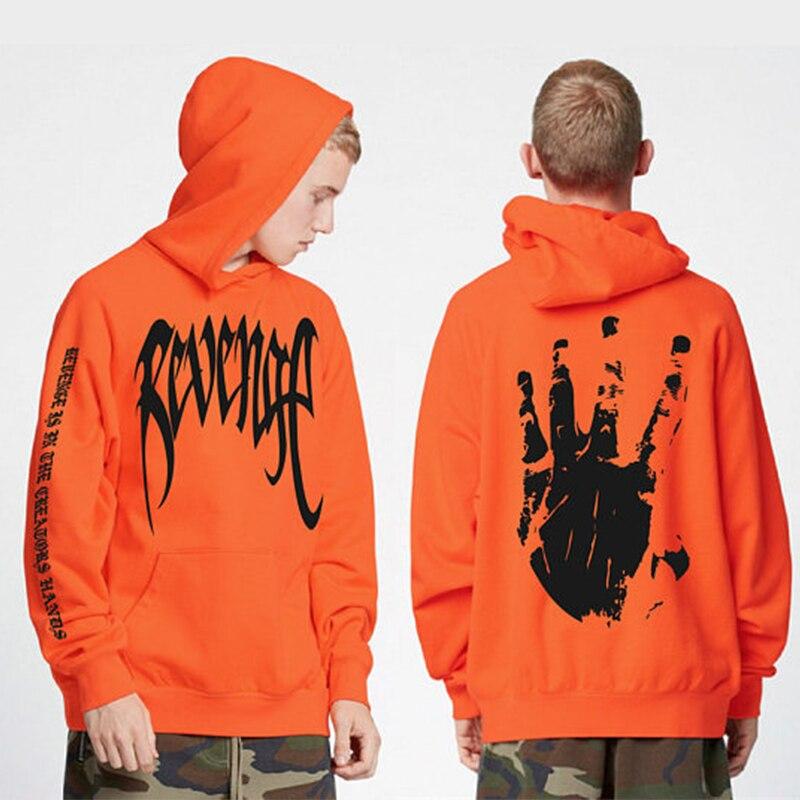 2018 nueva caliente venganza hoodie xxxtentacion letras frescas Palma imprimir Sudadera con capucha hombres hip hop streetwear Sudadera con capucha
