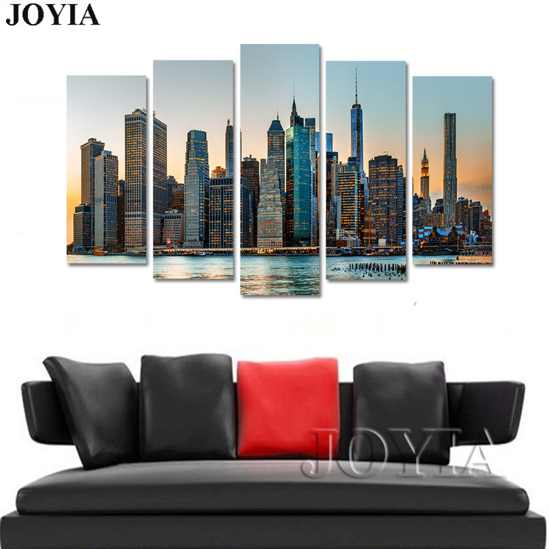 5 Piece Wall Art Canvas Manhattan City New York Wall Pictures Urban Building Art Large Paintings  sc 1 st  CanvasPrintWorld.com & 5 Panel Wall Art Canvas Manhattan City New York Decor Wall Pictures ...