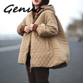 Genuo Women A-Line Parkas Hooded Loose Coats 2019 Winter New Zipper Long Sleeve Warm Plus Size Cloths Solid Color Coat