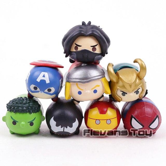 8 pçs/set Kawaii Mini Spider man Marvel os Vingadores Homem De Ferro Hulk Capitão América Avengers Loki PVC Figura Brinquedos