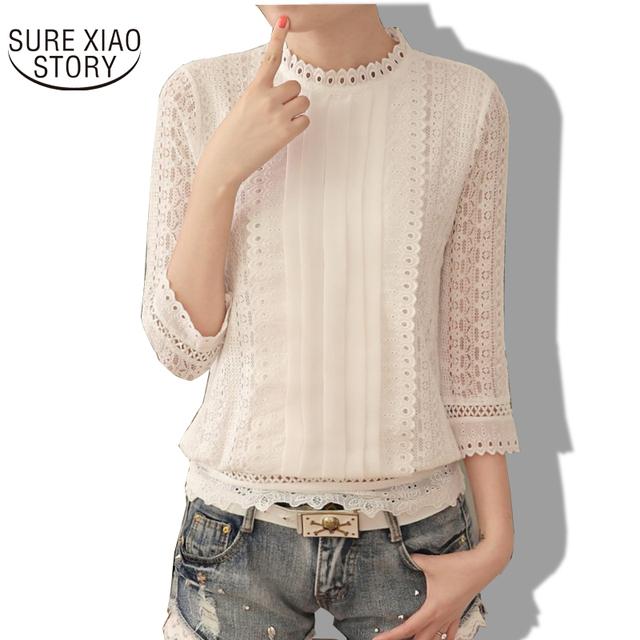 New Women Blouses Korean Style Ladies Chiffon Shirts 2016 Autumn Three Quarter Sleeve Stand Collar Clothes Plus Size Tops 61J 25