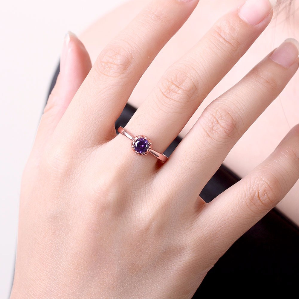 Charms Rose Gold Ring Wedding Decorations Cristal Rings With Purple ...