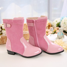WENDYWU 2017 girls in autumn and winter boots girl children shoes breathable anti-skid boots buckle side zipper princess boots