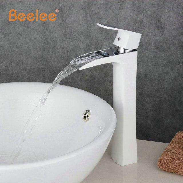 Beelee nouvelle arriv e grand cascade blanc salle de bains robinet blanc peint en laiton vier.jpg 640x640 Résultat Supérieur 14 Superbe Robinet Salle De Bain Blanc Stock 2018 Zzt4