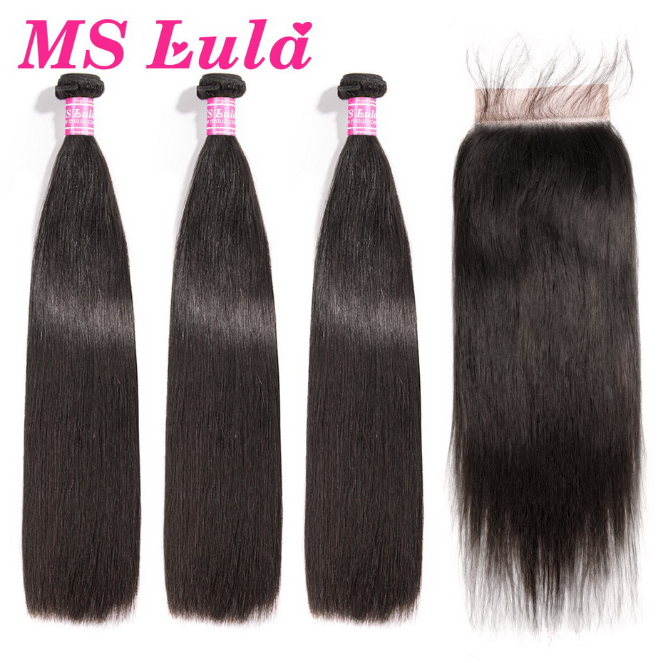MS Lula Brazilian Hair Straight 3 Bundles With 5x5 Lace Closure Human Hair Bundles Swiss Lace