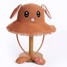 women summer sun hat visor girl cartoon rabbit cute moving ear dance decoration novelty photography props
