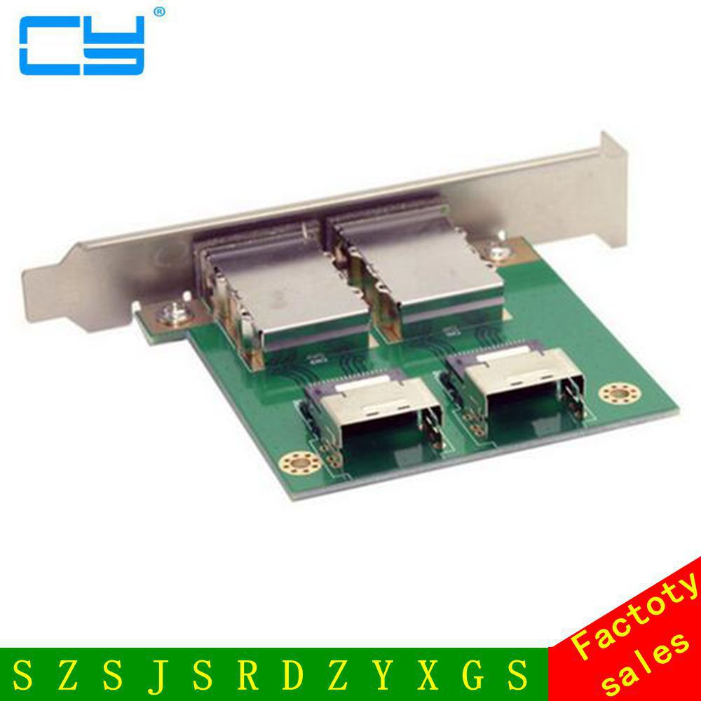 Dual Ports Mini SAS SFF-8088 to SAS 36Pin SFF-8087 PCBA Female Adapter with PCI Bracket mini sas 26f sff 8088 to mini sas 36f sff 8087 adapter card single port