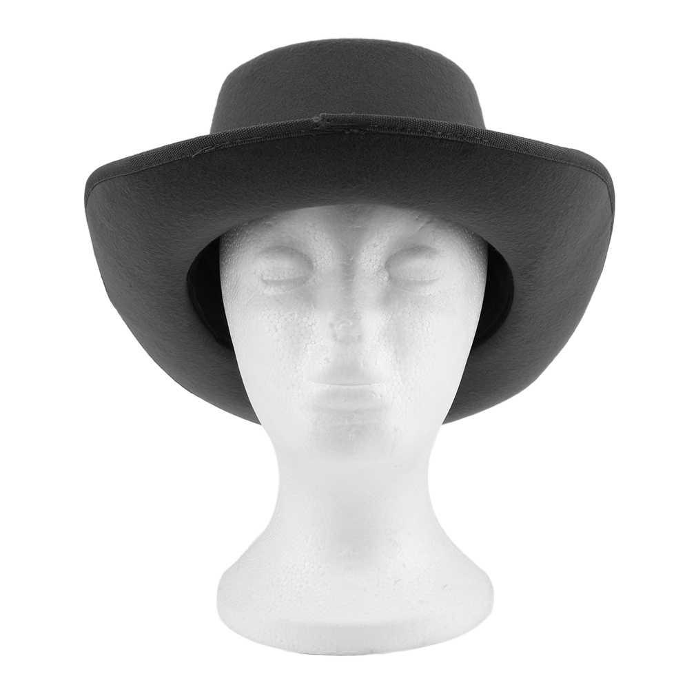 a63b847fbbb78 Women Vintage Hard Felt Hat Wide Brim Fedoras Trilby Wide Brim Panama Hat  Gangster Sun Cap Hot Fashion