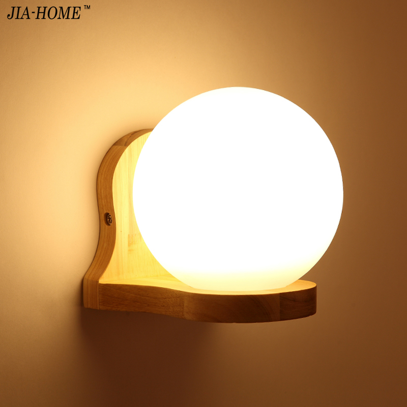 Wall Lamps Modern Simple Bedroom Bedside Lamps 1PCS*E27 Holder Stair Corridor Light wooden Lamp Body Glass Lampshade modern lamp trophy wall lamp wall lamp bed lighting bedside wall lamp